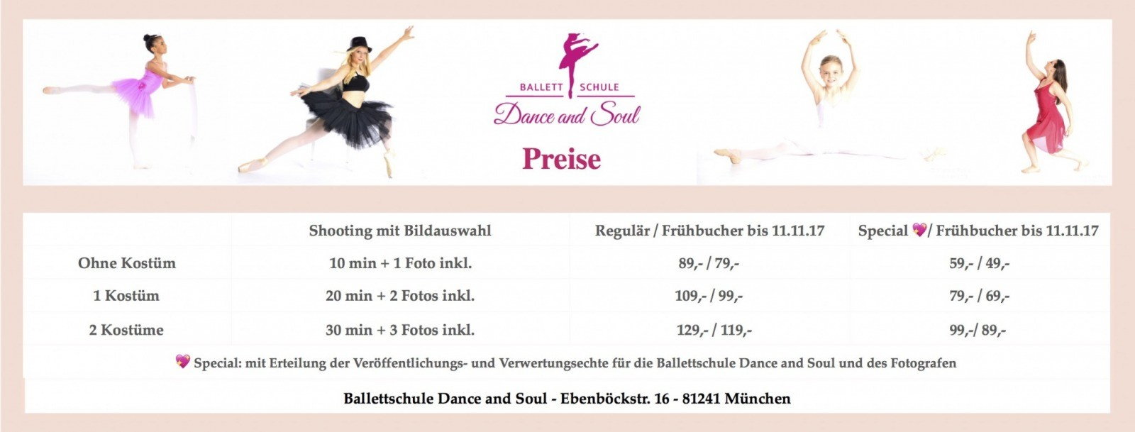 Professionelles Tanz - Fotoshooting, Ballettschule Dance and Soul, Fotoshooting 26. November 2017, Preise